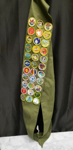 Lot of 33 Boy Scout Merit Badges and Sash