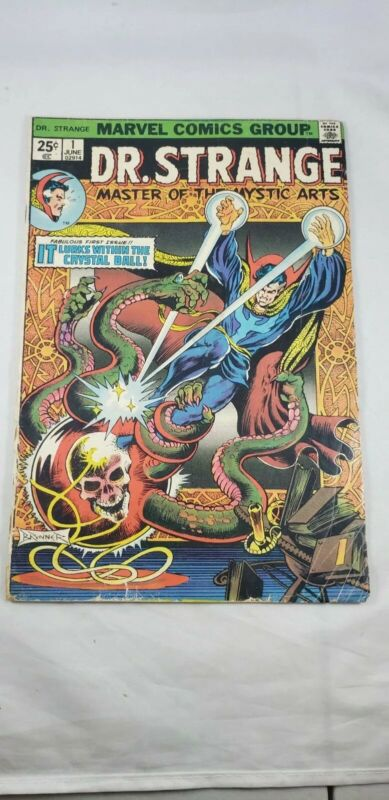 Doctor Strange #1 (Jun 1974, Marvel) cover detached from bottom staple. WORN