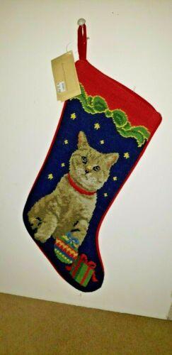 CHRISTMAS CAT on Navy Handmade Needlepoint Christmas Stocking NWT