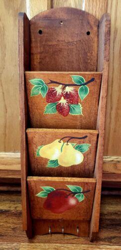 Vintage 3 Tier Wooden Wall Organizer Letter Mail Bill Key Holder