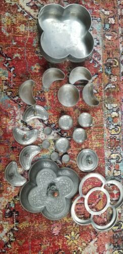 Vintage 21 pc. Large Chinese Pewter Server Figural Marked Complete