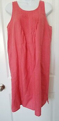 Garnet Hill Flax Linen Sleeveless Shift Dress Sz 12