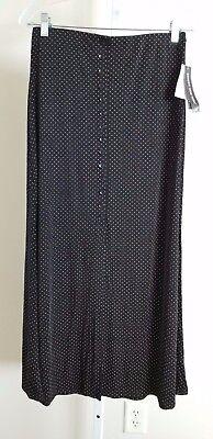 new BRIGGS long black brown polka dot A-LINE midi skirt CAREER travel stretch S