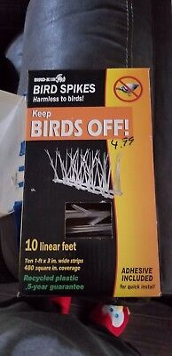 Bird-X Plastic Polycarbonate Bird Spikes Kit with Adhesive Glue Covers 10 feet