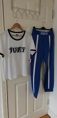 Juicy Couture Womens Joggers T SHIRT BAGGY Blue Cotton Elasticated Size XL BNWT!