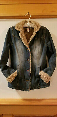 Womens ABERCROMBIE & FITCH Denim Coat Faux Shearling Lined Jacket Roll Up Cuff S