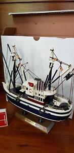 Timber Model Boat/Fishing Trawler on Stand - toy or collectable