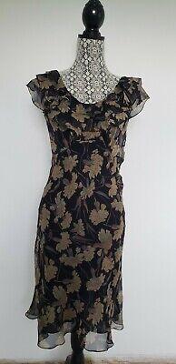NWT$398 Polo Ralph Lauren Midnight F Silk Floral Dress Ruffled Neckline 4; (Polo Ralph Lauren Sale Womens)