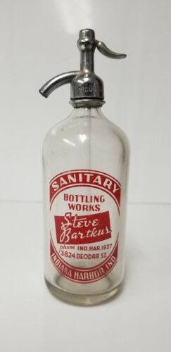 Vintage Seltzer Bottle Sanitary Bottling Steve Bartkus Indiana Friedberg NJ