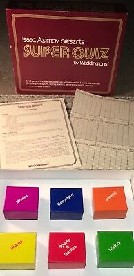 Isaac Asimov Super Quiz Game Waddingtons 5760 Questions 1983 Cards Complete Fun
