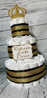 3 Tier Diaper Cake Black and Gold Custom Prince Theme Diaper Cake for Baby Boy