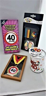 GESCHENKE SET 40.Geburtstag Kosmetiktücher Orden Dose Kerzen Deko Party 40