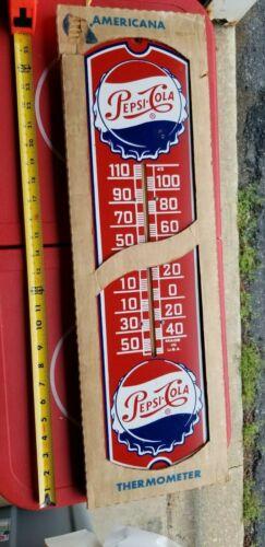 VINTAGE pepsi cola bottle cap in original box  Thermometer Sign