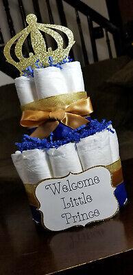 2 Tier Diaper Cake - Royal Blue Prince Theme Diaper Cake for Baby Boy Shower - Royal Prince Baby Shower Cake