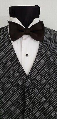 New Mens Black Silver Tuxedo Adjustable Vest Bow Tie CLOSEOUTS TUXXMAN ](Silver Vest)