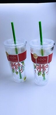 Lenox Acrylic Holiday Tumbler With Straw And Lid Holly Ribbon 21.5 Ounce Set (Plastic Tumblers With Lids And Straws Wholesale)