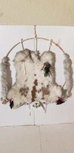 Vintage Dream Catcher Rabbit Fur Feathers Mandella