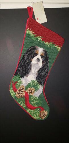 Tri Color Cavalier King Charles on Green Handmade Needlepoint Christmas Stocking