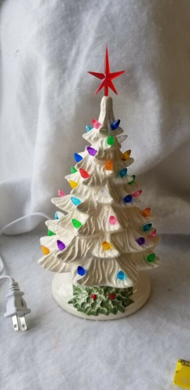 Ceramic Christmas Vintage Mold  New Small WHITE TREE HOLLY BASE  Made in The USA