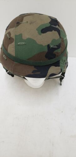Military Issued Woodland Made with Kevlar Helmet Complete-Large
