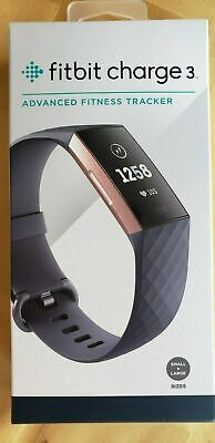 New Fitbit Charge 3 Fitness Activity Tracker - Touchscreen, Swim Proof Gold/Blue