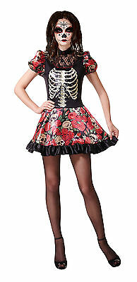 Halloween Damen Skelett Living Doll Kostüm Day Of Dead Kostüm Neu 12-14