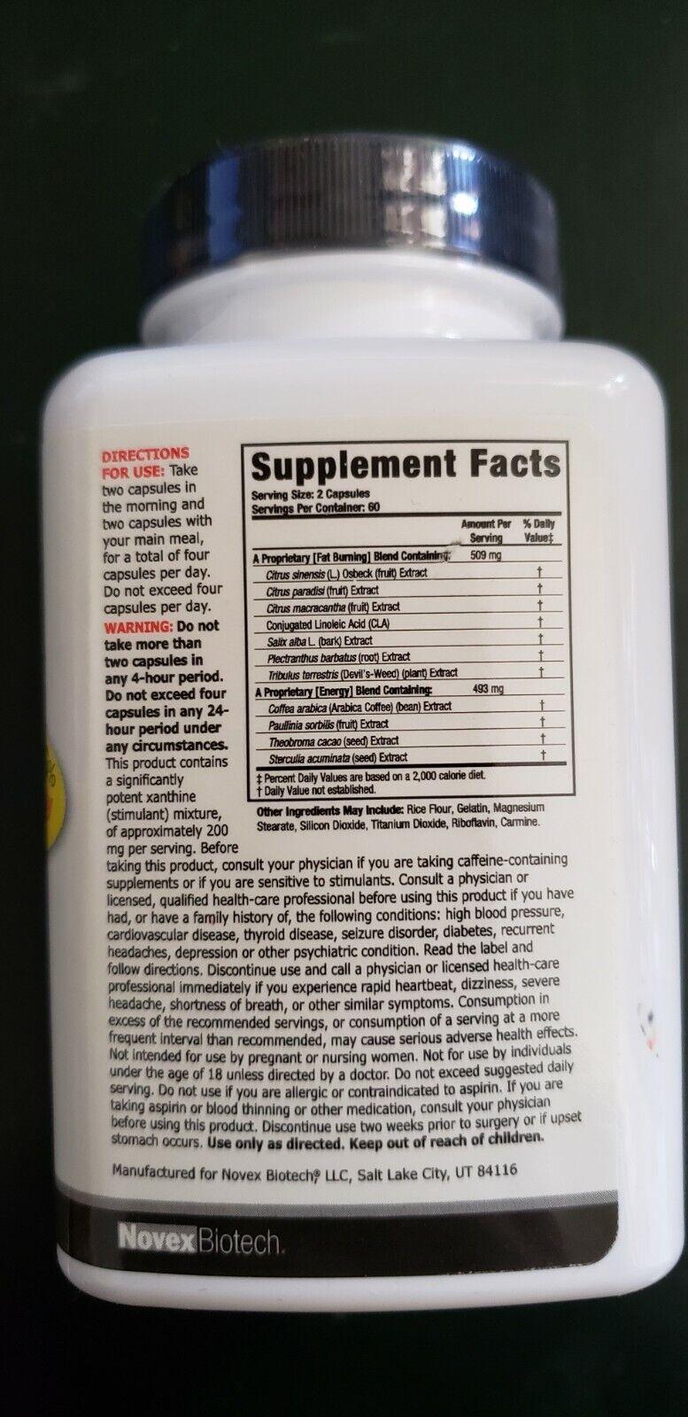 Novex Biotech - Thermodyne - 120 Capsules - 3 Phrase Fat Oxidizer - Exp 8/2021 1