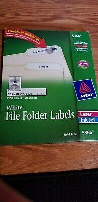 Avery Permanent File Folder Labels Trueblock Inkjetlaser White 750box 5366 Use