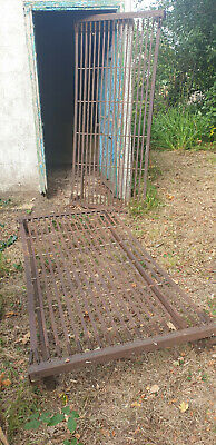 2 x antique shabby iron beds / springs for early 20th century shed find