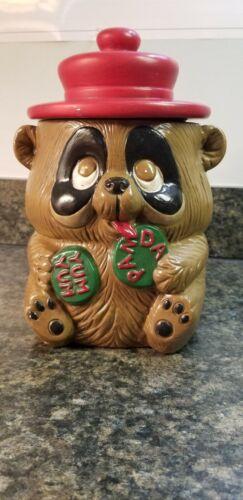 Adorable Vintage Hand Painted Ceramic Cookie Jar Bear / Panda Bear