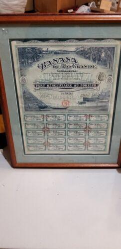 Original Nicaragua Banana Rio Grande 2.5M Francs 1913 Full Bond Framed RARE