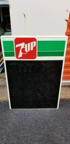 VINTAGE tin embossed 7up chalkboard sign  20 x 29