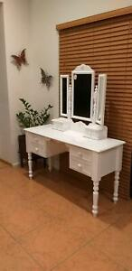 White Dressing Table with Three Way Mirror & Stool