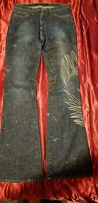 Genuine Vintage Versace Couture jeans Womens  28 size 10  stunning leaf pattern