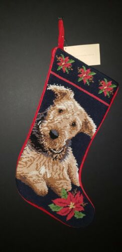 AIREDALE Terrier Handmade Finished Needlepoint Christmas Stocking NWT