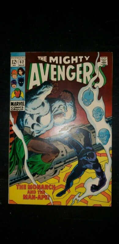 Avengers 62 Marvel 1969 8.5/9.0 beautiful white pages 1st Man-Ape Black Panther