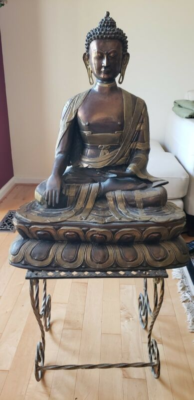 METALWORK STATUE OF BUDDHA, SEATED IN THE LOTUS POSITION height 26 inches