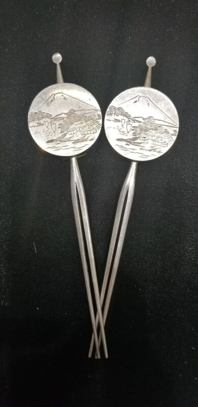 RARE VINTAGE JAPANESE 950 STERLING SALT & PEPPER SHAKER HAIRPIN SET -  MT FUJI