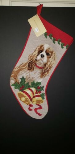 BLENHEIM Cavalier King Charles Handmade Needlepoint Christmas Stocking NWT
