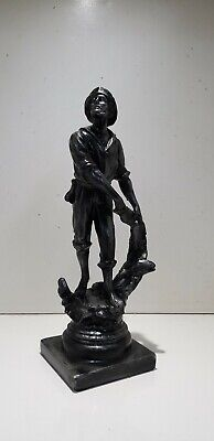 Vintage metal Cast poss spelter Fisherman with fish & Net height 38 cm