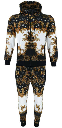 New Mens TiM Baroque Print Tracksuit Track Top & Track Bottoms Joggers Zip Up