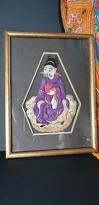 Old Chinese Framed Fabric Art …beautiful display & collection piece