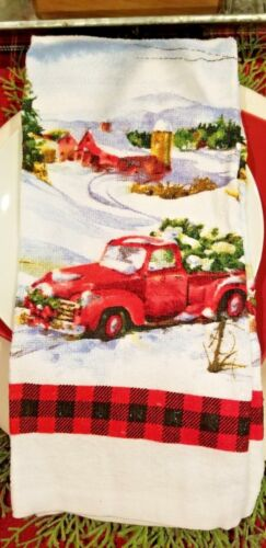 NEW! CHRISTMAS RED PICKUP TRUCK KITCHEN TOWEL~PAIRS W/MODERN FARMHOUSE DECOR!