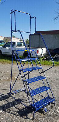 Louisville Rolling 6 Step Rolling Steel Warehouse Ladder Truck Shop Industrial