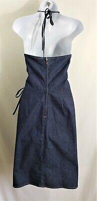 Womens AMERICAN EAGLE Blue Stretch Denim Jean Wrap Halter Dress Size 10 Cotton Denim Halter Dress