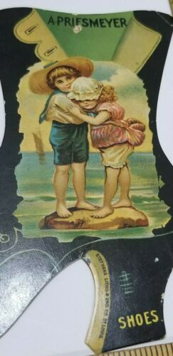 Victorian Trade Card TWO CUTE SHOELESS CHILDREN St Louis MO Priesmeyer Shoes