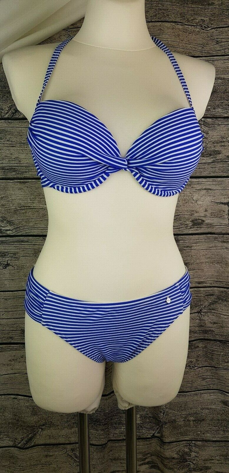 S.Oliver Bikini navy blau weiß gestreift Neckholder Push up BH und Slip 40 C Neu