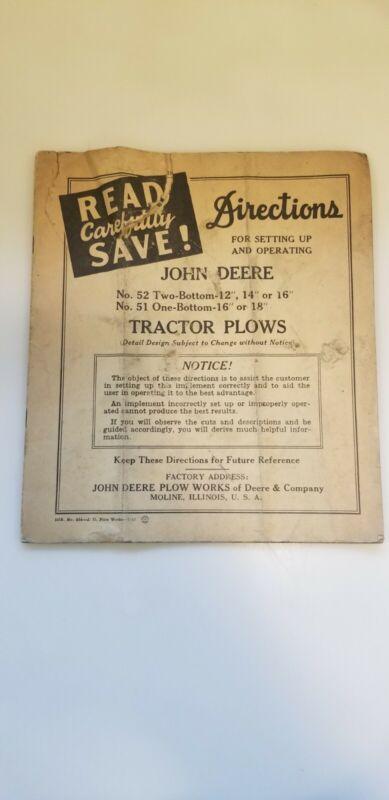 ORIGINAL 1941 JOHN DEERE TRACTOR PLOWS No. 52 & 51  Set-Up & Operation Manual