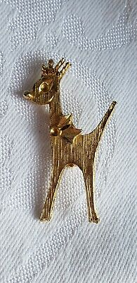 VINTAGE BROOCH CHRISTMAS THEME GOLD TONE REINDEER RETRO COLLECTABLE PIN CUTE](Christmas Theme Dress Up)
