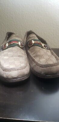 Gucci Authentic Vintage GG Logo Horsebit Loafers Brown Canvas 11.5 G US 12